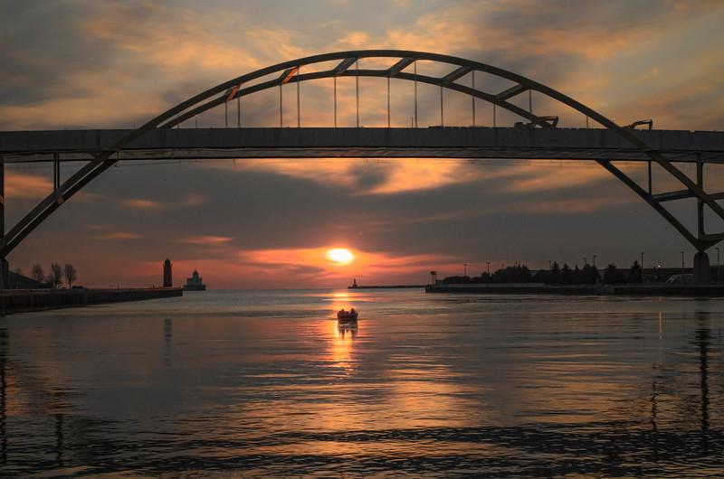 Lake Michigan Dawn Port of Milwaukee, Wi. USA