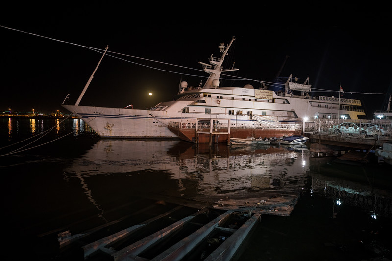 Moored on the edge of the Shatt al-Arab was the 82 metre superyacht, the Basra Breeze. Originally called the Qadissivat Saddam, it was built in 1981 by a Danish shipbuilder for President Saddam Hussein.