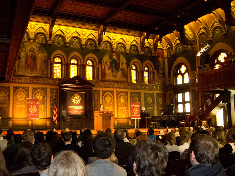 The 14th Annual Cardinal O'Connor Conference on Life at Georgetown University is the largest student sponsored Pro-Life conference. This years event was held the day after the march on Saturday, January 24. Although the conference is geared towards high school and college age this old man learned a lot about the Pro-life movement. Helen Alvare delivers the keynote in Gaston Hall. A very rich experience indeed! — at Healy Hall.