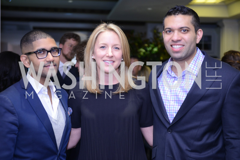Vik-Rum Aiyer, Andrea Harris, Ajay Kori. Photo by Ben Droz. White House Correspondents' House of Code Brunch hosted by Buzzfeed and App Developers Alliance. Kinship Restaurant. April 30, 2016.