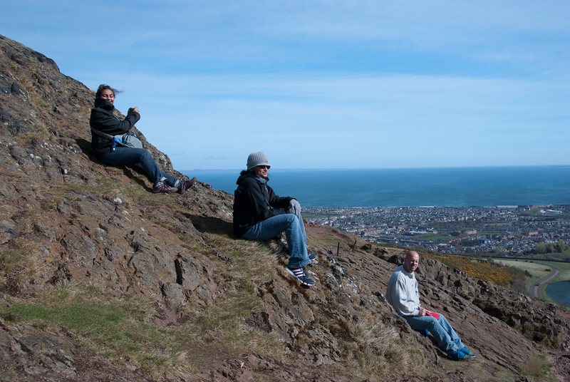 Arthur's Seat, Edinburgh, Scotland.Taking in the view before we head back down