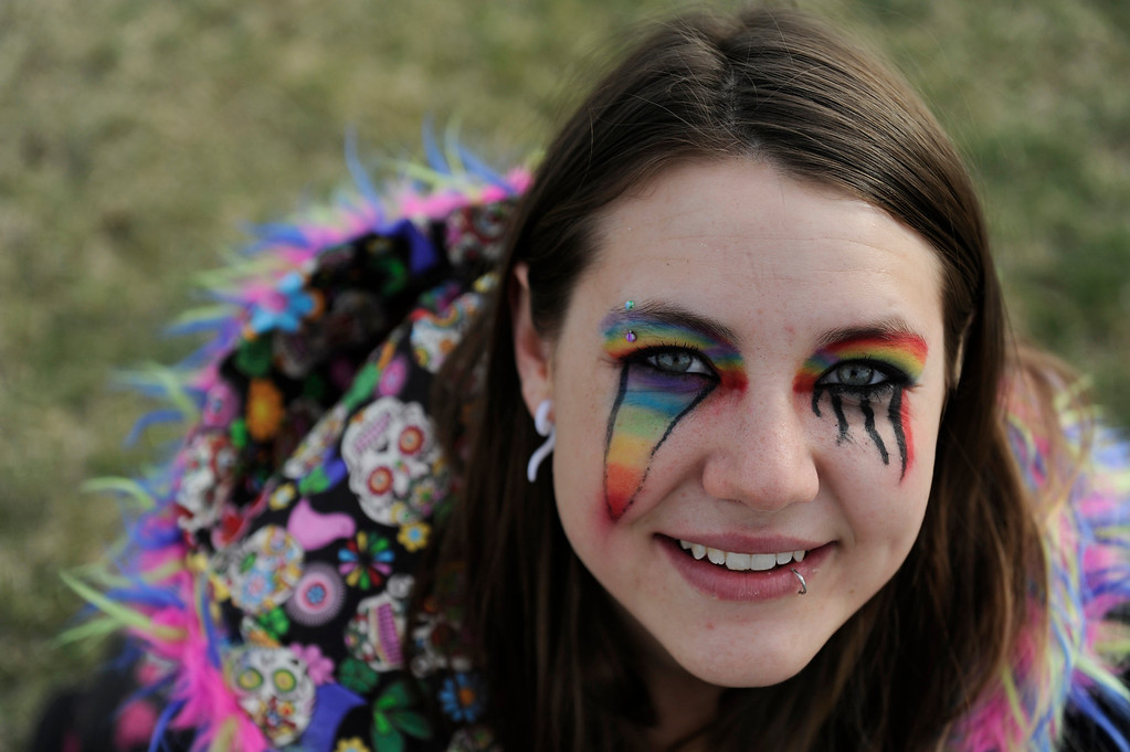 . DENVER, CO - APRIL 4: Amber Simonetti, 20, of Greeley, during the Snowball Music Festival at Sports Authority Field at Mile High Stadium on April 4, 2014 in Denver, Colorado. The Snowball Music Festival is celebrating its first year in Denver after spending the previous three years as a mountain based festival. (Photo by Seth McConnell/The Denver Post)