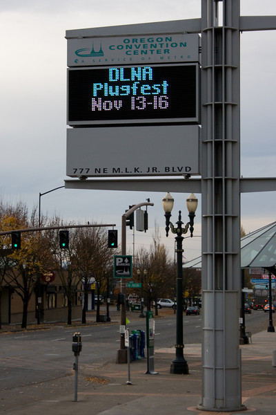 Convention Center DLNA Plugfest sign.
