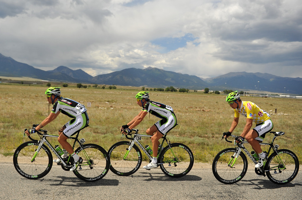 . From left, Cannondale Pro Cycling team  members Damiano Caruso and Davide Villella lead Peter Sagan during the stage from  Aspen to Breckenridge on Tuesday, August 20, 2013. (Photo By Hyoung Chang/The Denver Post)