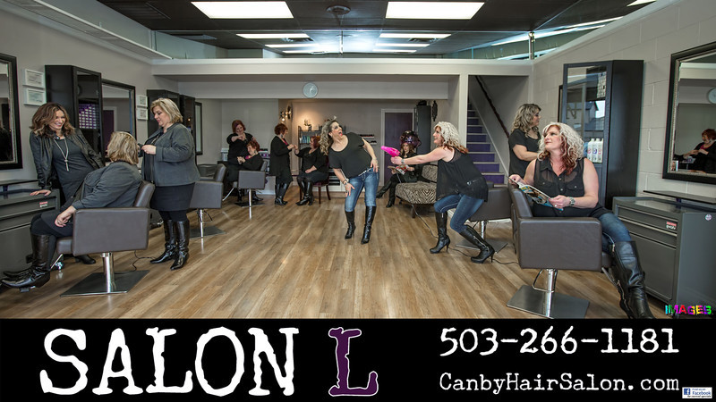 Salon L in Canby, Oregon...multiplicity shot - 2 separate pics combined into one.