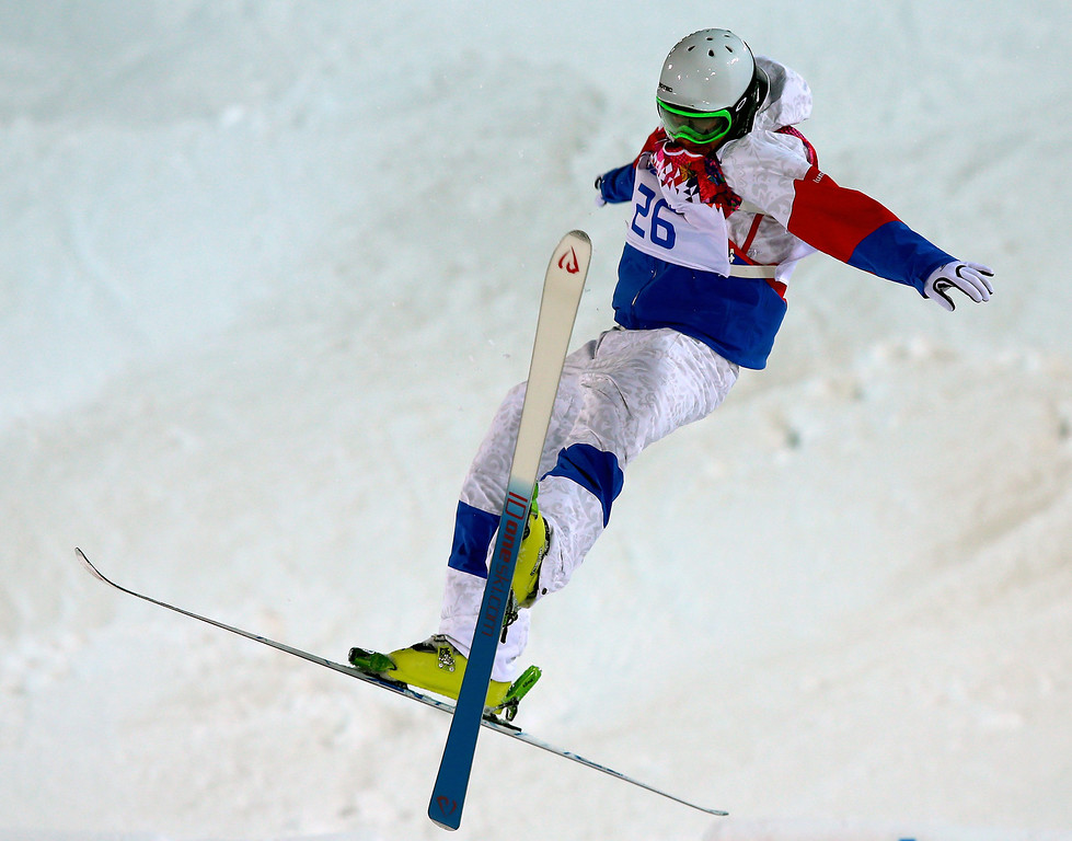 . Sergey Volkov of Russia crashes during  the Freestyle Skiing Men\'s Moguls Qualification 1 at the Sochi 2014 Olympic Games, Krasnaya Polyana, Russia, 10 February 2014.  EPA/JENS BUETTNER