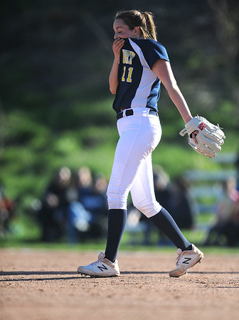 4/24/2019 Mike Orazzi | Staff Simsbury's Brooke Witkin (11) during Wednesday's softball with Bristol Central in Bristol.