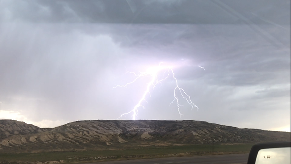 Lightning on the road in Colorado