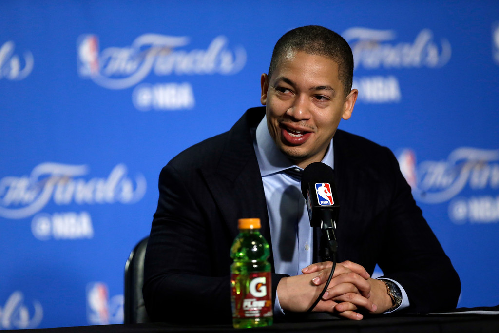 . Cleveland Cavaliers head coach Tyronn Lue answers questions during a press conference after Game 1 of basketball\'s NBA Finals against the Golden State Warriors Thursday, June 1, 2017, in Oakland, Calif. (AP Photo/Ben Margot)