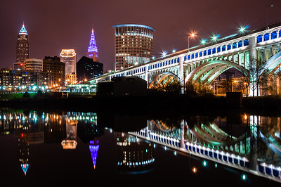 Downtown Cleveland looking east across the Cuyahoga River.  From L-R:  Key Tower, 200 Public Square, Terminal Tower, Stokes Tower, and the Veterans Memorial Detroit-Superior Bridge.