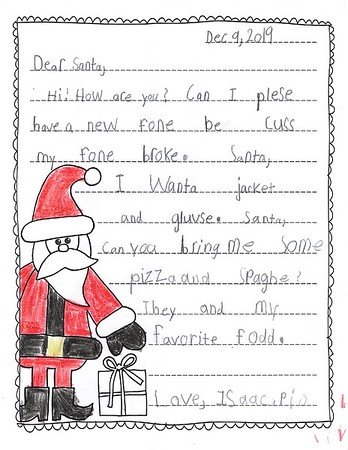 Mrs. Weir's 2nd Grade Letters to Santa, 12/16/2019