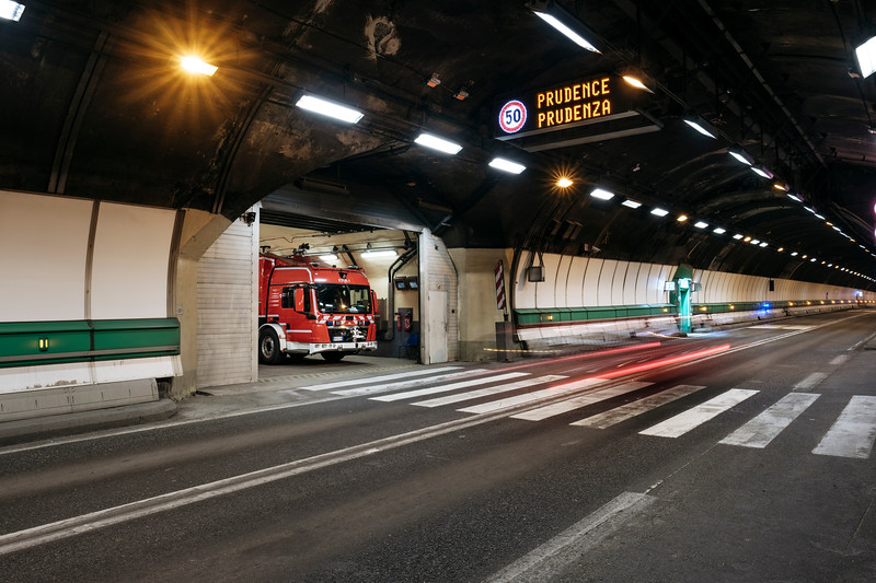 Firefighter station in the middle of the tunnel (18), Proteus fire truck inside - Samuel Zeller for the New York Times