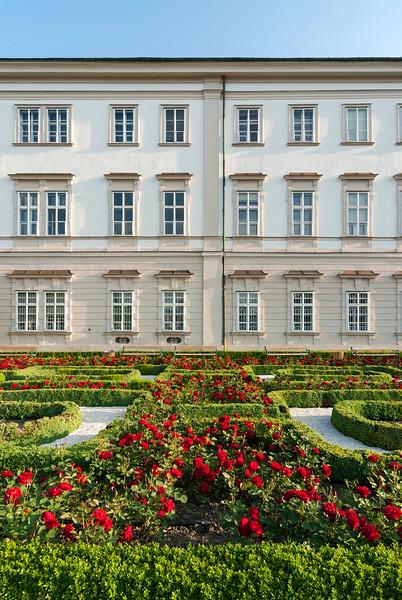 Rose Gardens at Baroque Mirabell Palace in Salzburg, Austria