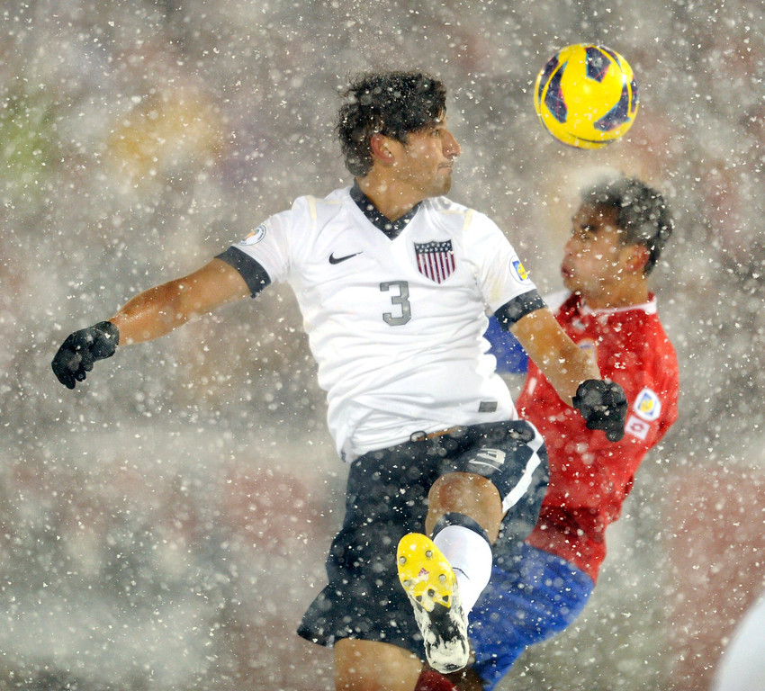 . COMMERCE CITY, CO. - MARCH 22: United States defender Omar Gonzalez (3) headed a ball past Costa Rica\'s Giancarlo Gonzalez (3) in the second half. The U.S. Men\'s National Soccer Team defeated Costa Rica 1-0 Friday night, March 22, 2013 in a FIFA World Cup qualifier at Dick\'s Sporting Goods Park in Commerce City.  (Photo By Karl Gehring/The Denver Post)
