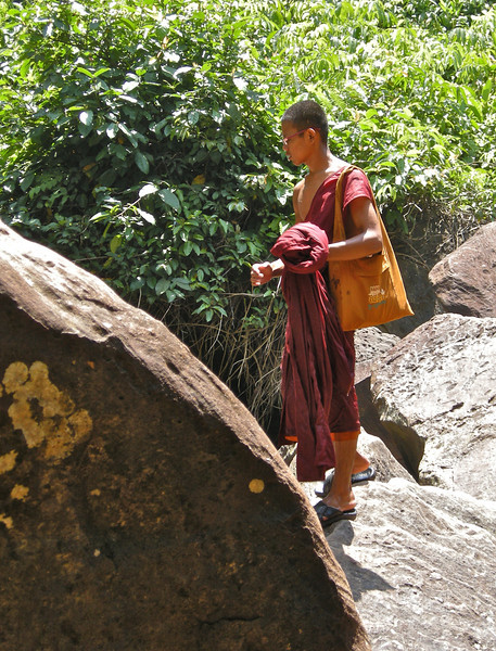 Monk by the waterfalls, Phnom Kulen National Park: Siem Reap