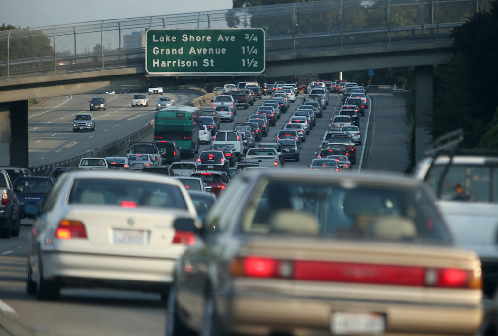 . Traffic backs up along Interstate 580 westbound in Oakland, Calif., on Tuesday, July 2, 2013. The BART strike is in its second day and bargaining talks have not resumed. (Jane Tyska/Bay Area News Group)