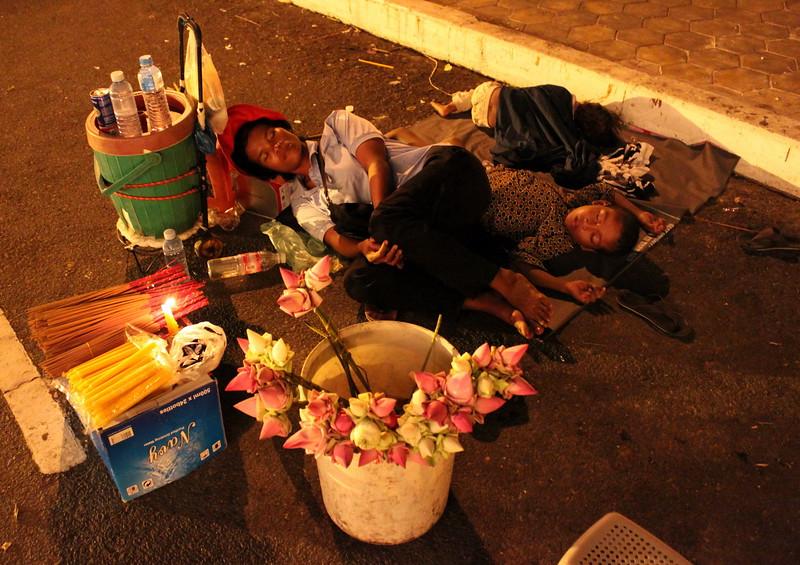 A vendor takes a break