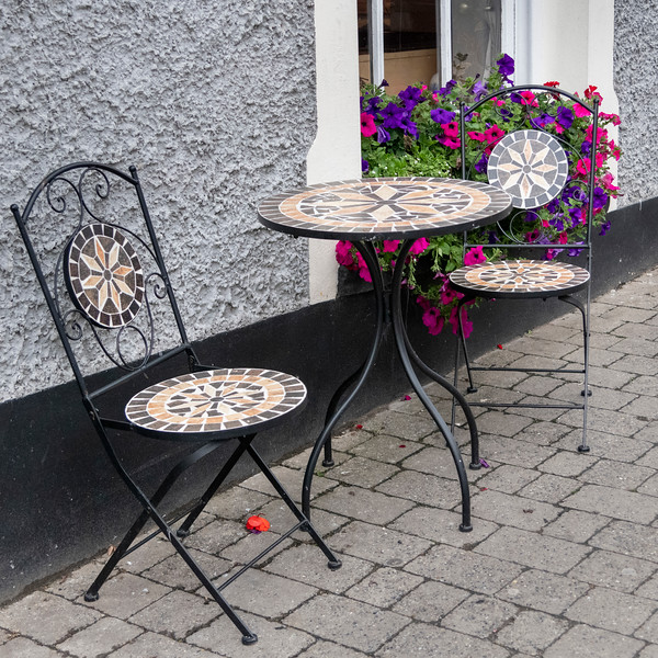 Tables and chairs outside restaurant, Dingle, Dingle Peninsula, County Kerry, Republic of Ireland