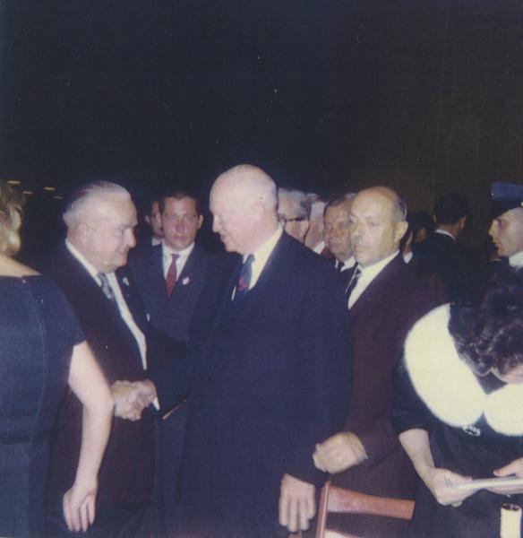 Mayor Biertuempfel greets President Eisenhower about 1964.