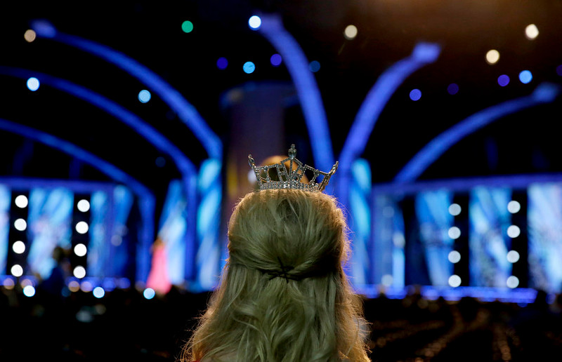 . Miss Nevada Outstanding Teen Amy Smith, 15, waits for the start of the Miss America 2015 pageant, Sunday, Sept. 14, 2014, in Atlantic City, N.J. (AP Photo/Mel Evans)