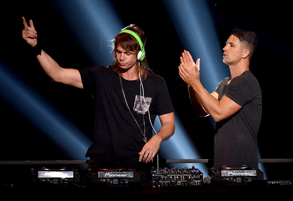 . LOS ANGELES, CA - MAY 01:  DJs Matt Stafford (L) and Chris Stafford of the Stafford Brothers perform onstage during the 2014 iHeartRadio Music Awards held at The Shrine Auditorium on May 1, 2014 in Los Angeles, California. iHeartRadio Music Awards are being broadcast live on NBC.  (Photo by Kevin Winter/Getty Images for Clear Channel)