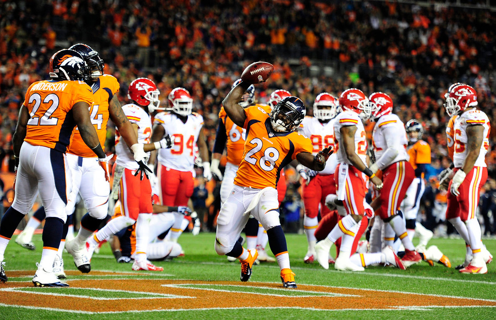 . Denver Broncos running back Montee Ball (28) spikes the ball after a touchdown in the second quarter. The Denver Broncos take on the Kansas City Chiefs at Sports Authority Field at Mile High in Denver on November 17, 2013. (Photo by AAron Ontiveroz/The Denver Post)