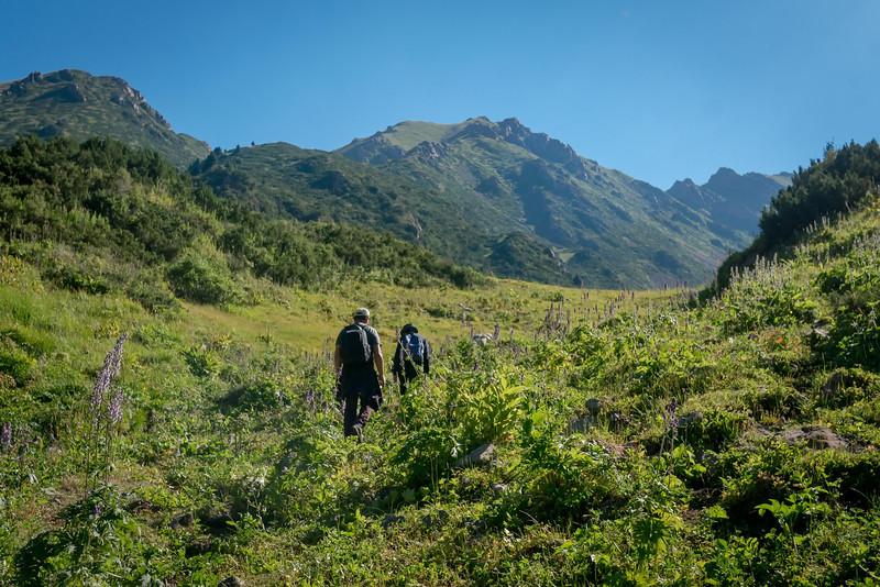 Trekking in the Jrygalan in the Issyk-Kul province of Kyrgyzstan.