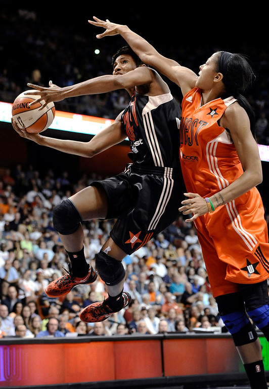 . East\'s Angel McCoughtry, left, of the Atlanta Dream, goes up for a basket while guarded by West\'s Candace Parker, of the Los Angeles Sparks, during the second half. (AP Photo/Jessica Hill)