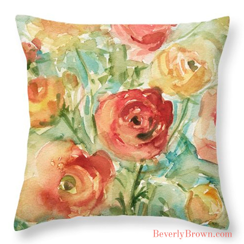 Red Orange Yellow Ranunculus Floral Throw Pillows by Artist Beverly Brown | www.beverlybrown.com