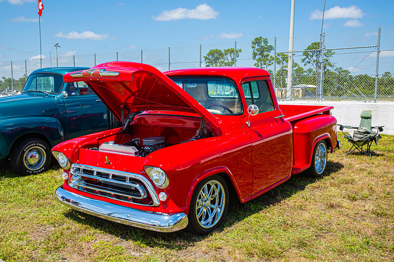 A 1957 Chevy 3100 Side-Step Pickup owned by Ron Esposito of Palm Beach Gardens at the Super Chevy Show at Palm Beach International Raceway on Saturday, May 25, 2019. [JOSEPH FORZANO/palmbeachpost.com]