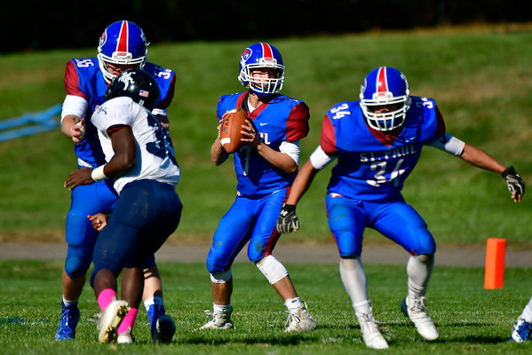 10/5/2019 Mike Orazzi | StaffrSt Paul's Aston Chase (7) during Saturday's football game with Ansonia in Bristol.