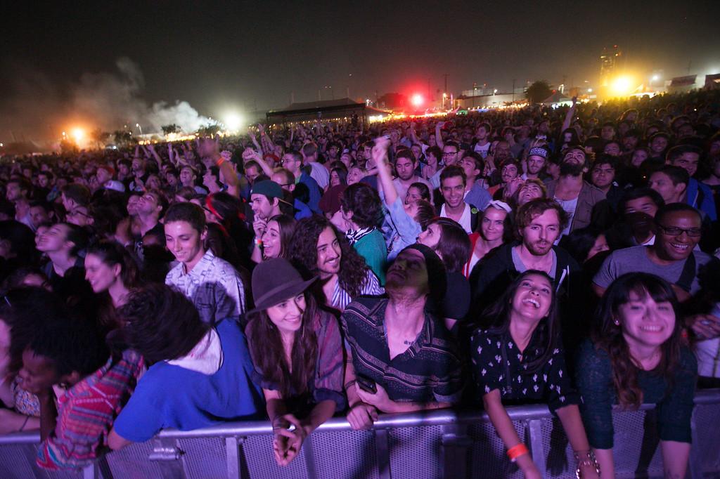 . Fans wait for Dan Deacon at FYF Fest in downtown L.A., Saturday, August 24, 2013. (Michael Owen Baker/L.A. Daily News)