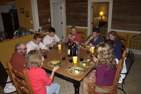Fabulous dinner by Rick/Jen. Sue, Rick, Kevin, Matt L, Chris, Mark, Melissa, Matt B, Jen