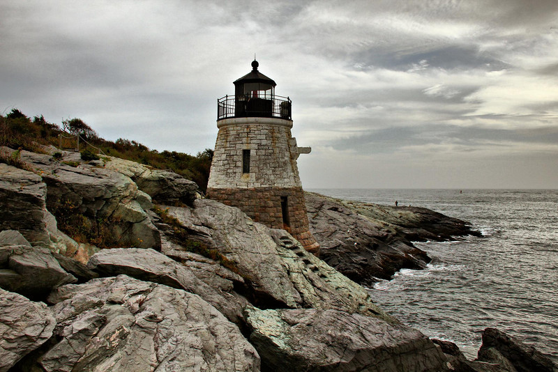 Castle Hill Lighthouse in Newport, Rhode Island. The remnants of Hurricane Earl, 90 miles offshore, provided the clouds.