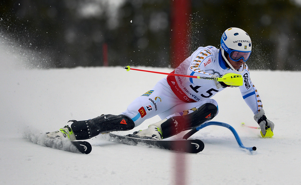 . BEAVER CREEK, CO - FEBRUARY 15: Andre Myhrer of Sweden competes in the first run of the Men\'s slalom during the FIS  Alpine World Ski Championships in Beaver Creek, CO. February 15, 2015. (Photo By Helen H. Richardson/The Denver Post)