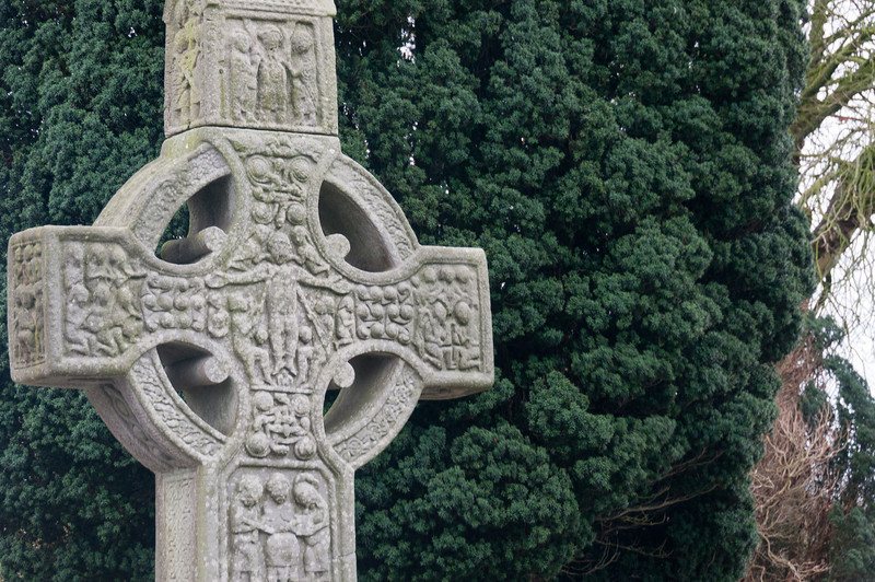 Close-up shot of the cross at an ancient burial site in County Meath, Ireland