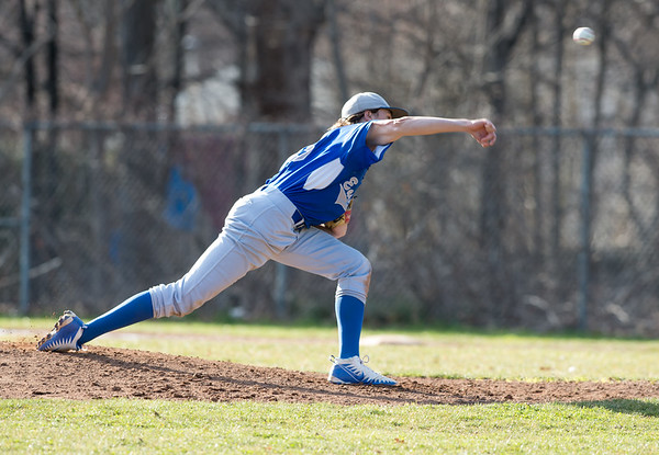 04/10/19 Wesley Bunnell | Staff Bristol Eastern baseball defeated New Britain in a home game on Wednesday afternoon. Jagger Duquette (16).