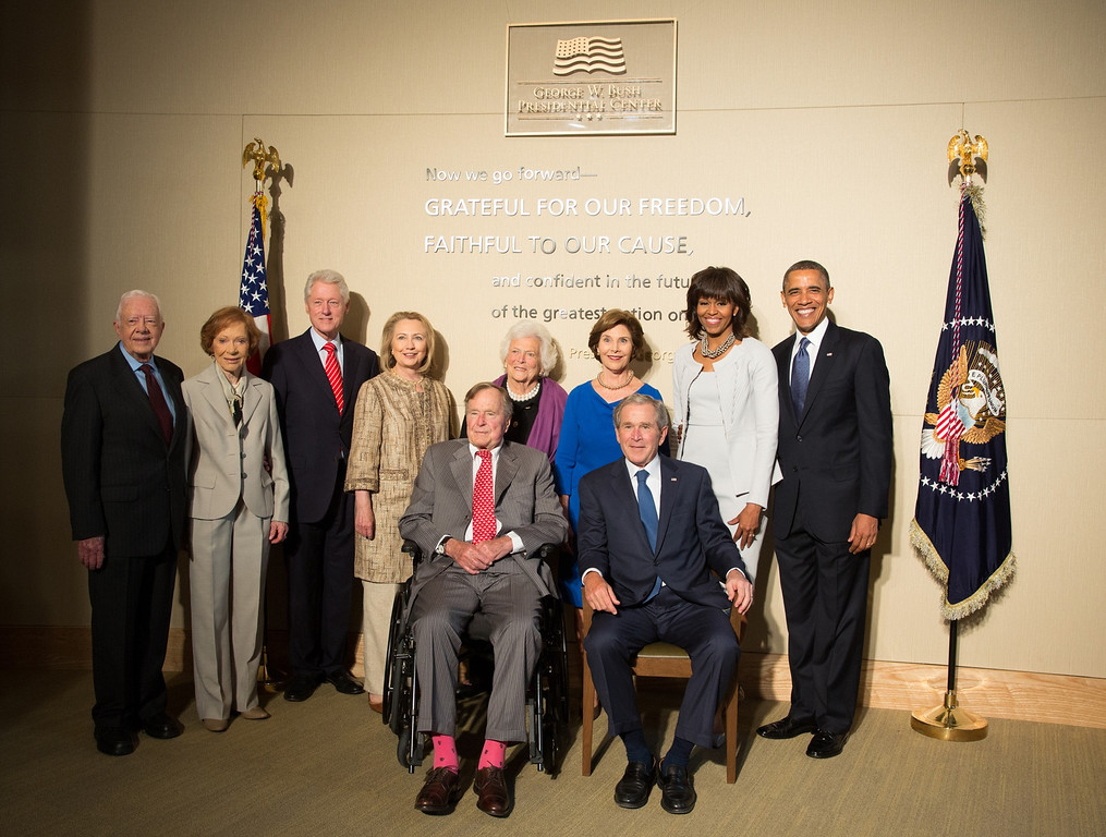 . DALLAS, TX - APRIL 25:  In this handout provided by the George W. Bush Presidential Center, former U.S. presidents (L-R) Jimmy Carter, Bill Clinton, George H.W. Bush, George W. Bush and President Barack Obama and former first ladies (L-R) Rosalyn Carter, Hillary Clinton, Barbara Bush, Laura Bush and first lady Michelle Obama pose at the opening of the George W. Bush Presidential Center April 25, 2013 in Dallas, Texas.  (Photo by Paul Morse/George W. Bush Presidential Center via Getty Images)