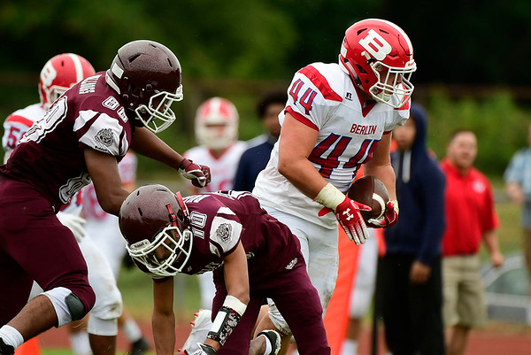 9/8/2018 Mike Orazzi | Staff Berlin's Zach Hrubiec (44) against Bulkeley/HMTCA/Weaver in Hartford Saturday.