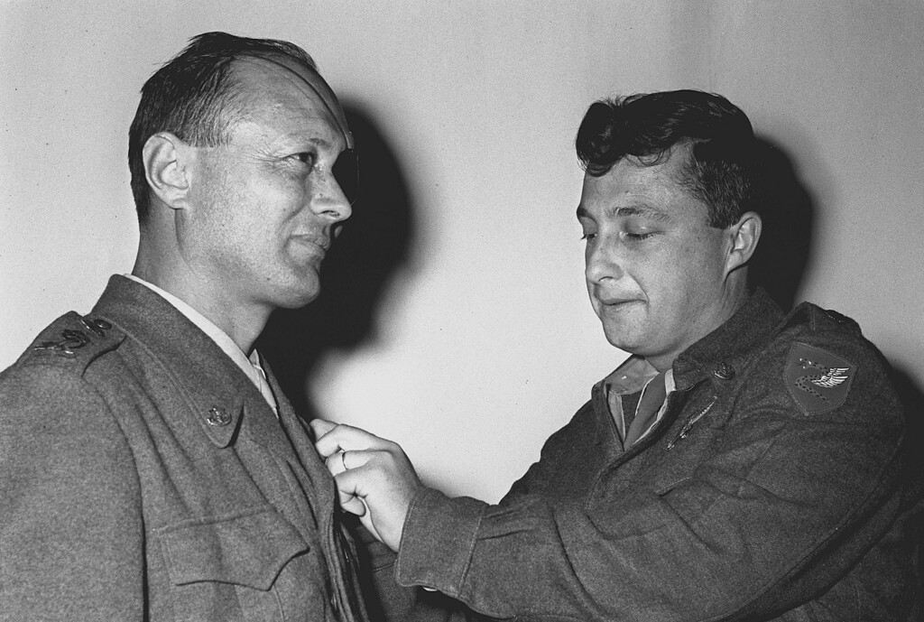 . In this handout from the Israeli Governmental Press Office, Israeli paratroops officer Ariel Sharon (R) with Chief-of-Staff Moshe Dayan October 1, 1955 in Israel. (Photo by Nati Harnik/GPO via Getty Images)