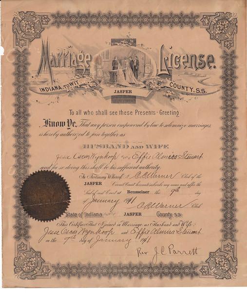 Marriage Certificate - Jesse Wynkoop & Effie Steuart - Jan. 9, 1911.jpg