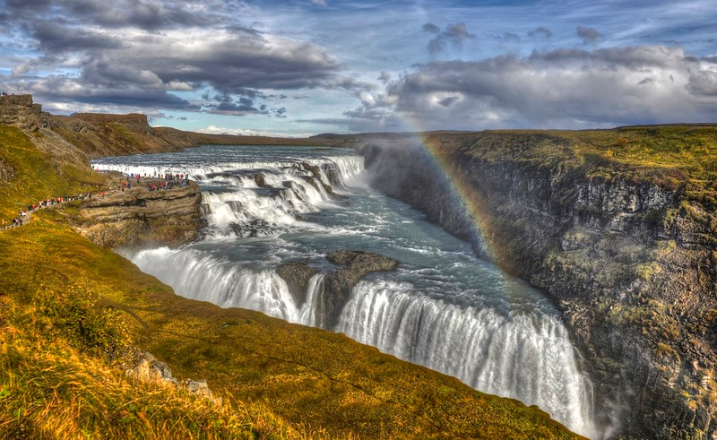 Gullfoss with rainbow in the mist