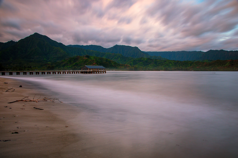 Long Exposure shot of Hanalei Bay Pier at Sunrise