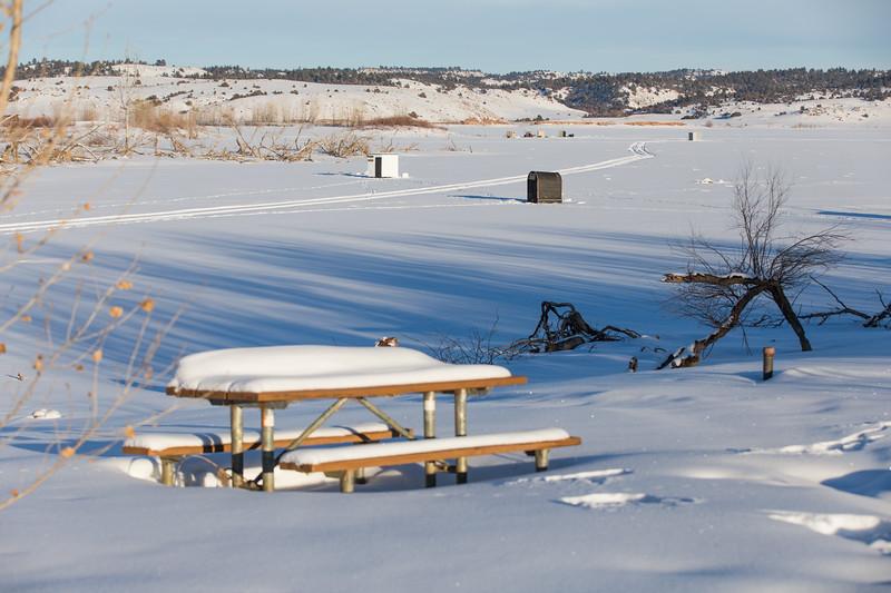 Ice Fishing Huts on Tongue River Resv
