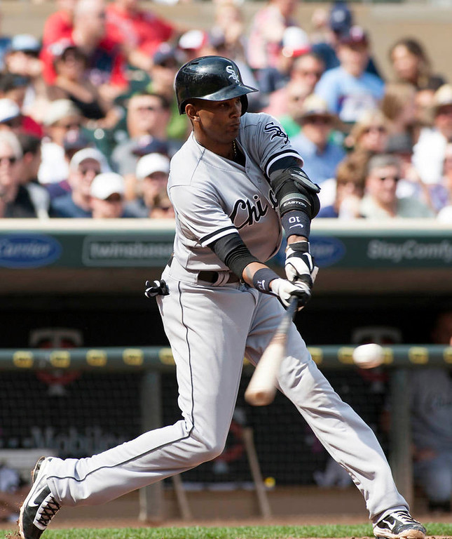 . Chicago White Sox Alexei Ramirez bats during the seventh inning.(AP Photo/Paul Battaglia)