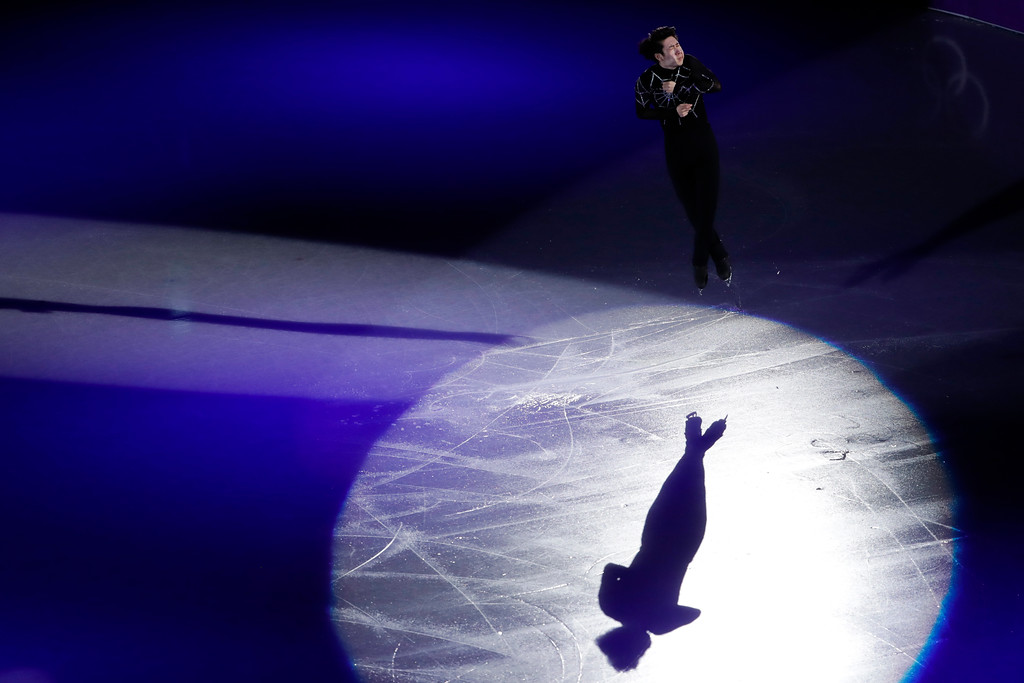 . Jin Boyang, of China, performs during the figure skating exhibition gala in the Gangneung Ice Arena at the 2018 Winter Olympics in Gangneung, South Korea, Sunday, Feb. 25, 2018. (AP Photo/Felipe Dana)