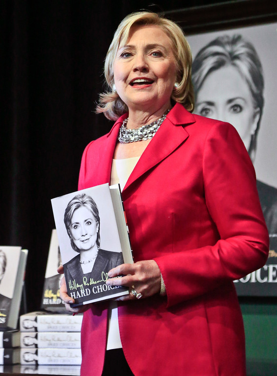 . HiIlary Rodham Clinton speaks before doing a book signing on Tuesday June 10, 2014, at Barnes and Noble bookstore in New York.    (AP Photo/Bebeto Matthews)