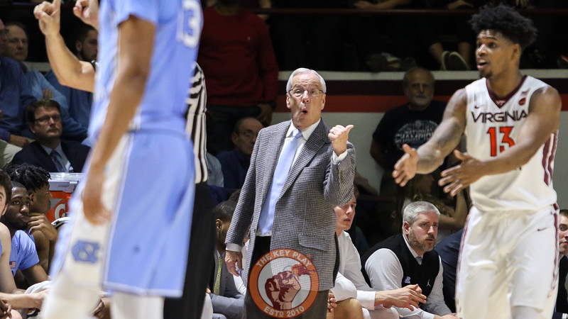 UNC head coach Roy Williams signals to his players as Virginia Tech maintains its second half lead. (Mark Umansky/TheKeyPlay.com)