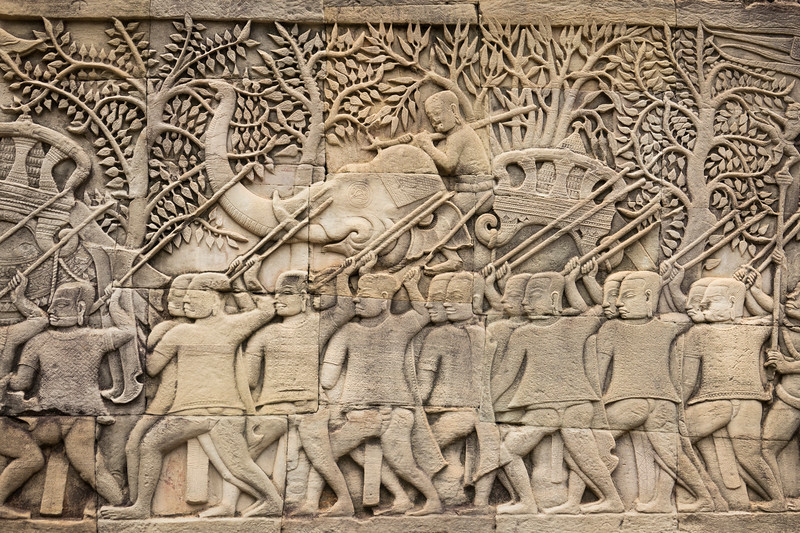 Elephants and Men with Spears