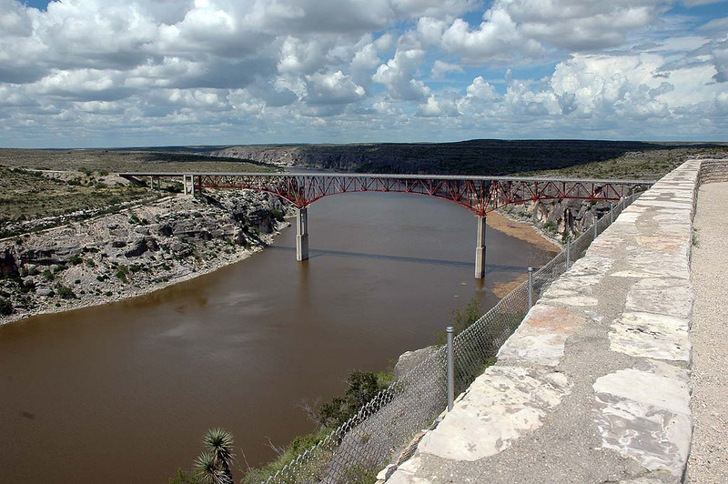 The Pecos River crossing (we'll be traveling from right to left (east to west) in this photo. The Pecos River (coming from the north) meets the Rio Grande River (toward the lower left) near this spot, northwest of Del Rio, TX.